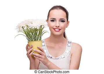 vrouw, met, bloem, vrijstaand, op wit