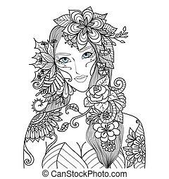 vrouw, met, bloemen