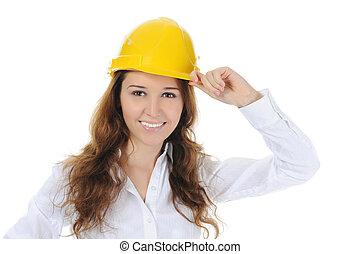 vrouw, met, bouwsector, helm