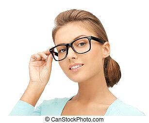 vrouw, met, brillen
