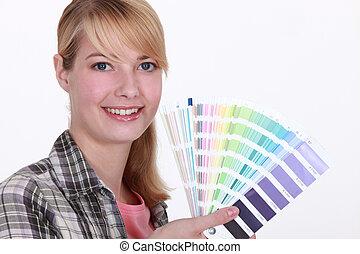 vrouw, met, een, kleurengrafiek