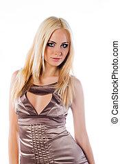vrouw, met, een, lang, blond haar