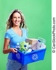 vrouw, met, een, recycl bak