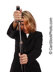 vrouw, met, een, zwaard