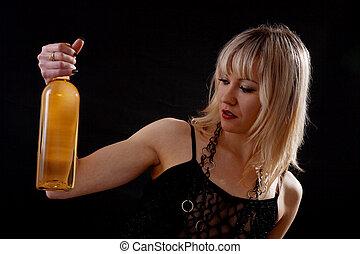 vrouw, met, fles van wijn
