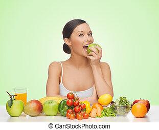 vrouw, met, fruit en groenten, handappel