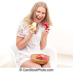 vrouw, met, fruit en groenten