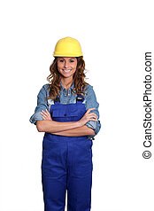 vrouw, met, gele, veiligheid, helm, staand, op wit, achtergrond