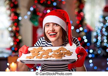 vrouw, met, gember, koekjes