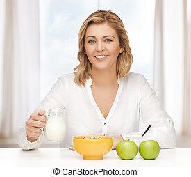 vrouw, met, gezond ontbijt