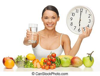 vrouw, met, gezond voedsel