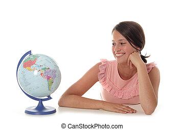 vrouw, met, globe