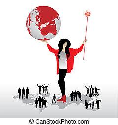 vrouw, met, globe, silhouettes, van, mensen, op, woord, kaart