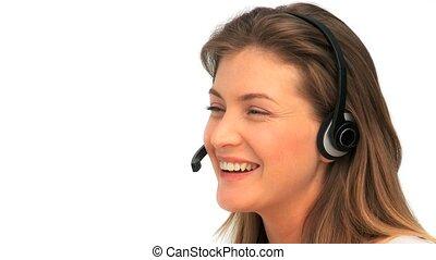 vrouw, met, haar, koptelefoon