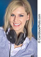 vrouw, met, headphones