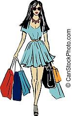 vrouw, met, het winkelen zakken