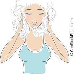 vrouw, met, hoofdpijn