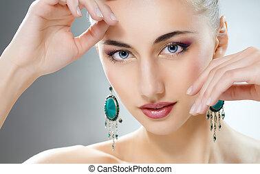 vrouw, met, juwelen