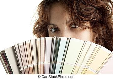 vrouw, met, kleur swatch