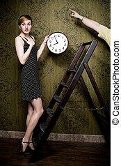 vrouw, met, klok