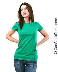 vrouw, met, leeg, groen hemd