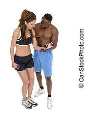 vrouw, met, mannelijke , persoonlijke trainer, 1