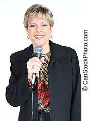 vrouw, met, microfoon