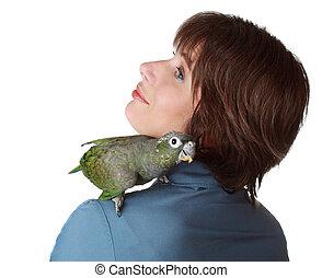 vrouw, met, papegaai, op, schouder