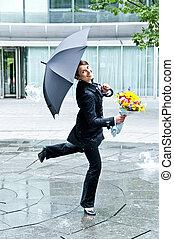 vrouw met paraplu