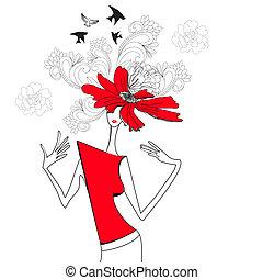 vrouw, met, rode bloemen