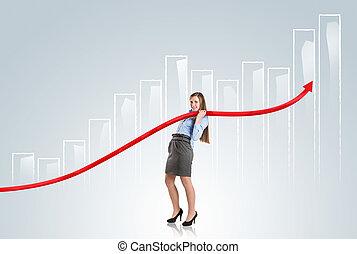 vrouw, met, statistiek, bocht