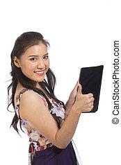 vrouw, met, tablet