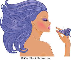 vrouw, met, vlinder