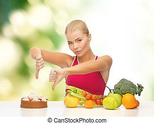 vrouw, met, vruchten, het tonen, beduimelt neer, om te, taart