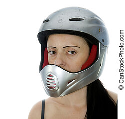 vrouw, met, zilver, motocross, helm