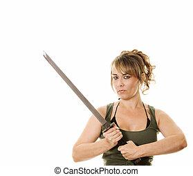 vrouw, met, zwaard