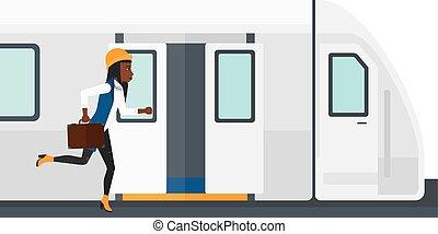 vrouw, missende , train.