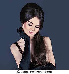 vrouw, mode, beauty., avond, make-up., juwelen