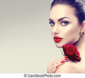 vrouw, mode, beauty, roos, face., bloem, verticaal, model, rood