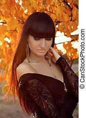 vrouw, mode, girl., portrait., sunset., herfst, mooi