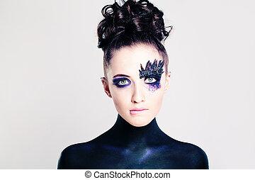 vrouw, mode, jonge, makeup