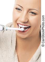 vrouw, moder, dentaal, teeth, hygiëne, poetsen, concept:caucasian