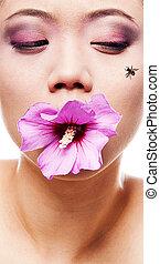 vrouw, mond, bloem