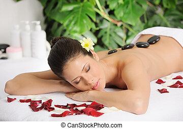 vrouw, mooi, spa, relaxen