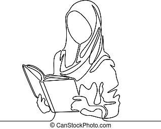 vrouw, moslim, illustration., voortdurend, book., vector, student, lijn, lezende