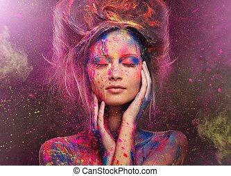 vrouw, muze, lichaam kunst, jonge, hairdo, creatief