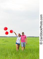 vrouw, natuur, paar, akker, man, balloons., rood, vrolijke