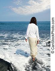vrouw, oceaan