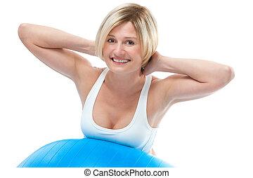 vrouw, oefening, fitness