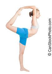 vrouw, oefening, in, flexibiliteit